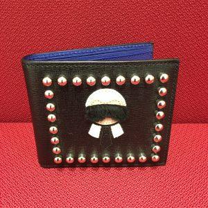 ラガーフェルト 二つ折り札入れ 黒/ブルー レザー 7M0169